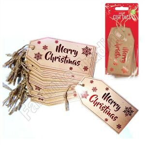 Christmas Luxury Patterned Red Foil Gift Tags Labels Jute Presents Large Name