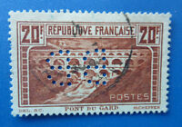 1929 FRANCE STAMP EXHIBITION BB PERFIN 20F BROWN 13 1/2 PERF. USED STAMP