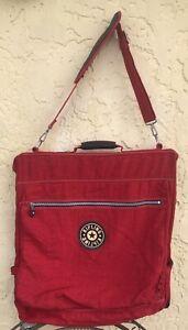 KIPLING Signature Nylon Red Fold Over Garment Bag With Zip Pockets