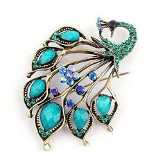 Vintage Style Turquoise Peacock Rhinestone Crystal Diamante Brooch Pin GIFT