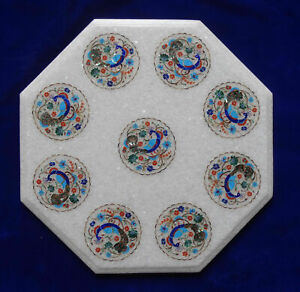 """24"""" Marble Dining Table Top Inlay Rare Semi Round Center Coffee Table AR0952"""