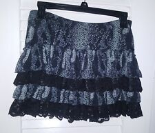 GUESS LOS ANGELES RUFFLED LAYERED SKIRT LACE SNAKE PRINT SIZE SMALL