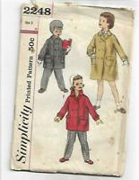 Simplicity 2248 Vintage 1950s Child's Boys Girls Coat Size 6 Sewing Pattern