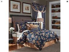 Croscill Julien 4 Piece Queen Comforter Set Floral Jacobean Navy/Gold