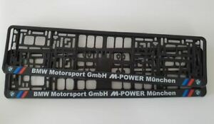 2 X CAR Number Plate Surrounds / Frames, fits BMW MOTORSPORT M POWER cars (PAIR)