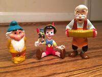Rare Vintage Pinochio Figurarines Lot Of 3- Pinocchio, Giuseppe and Bashful