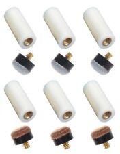 6 Screw In Ferrules & 6 Screw On Pool Cue Tips - 11mm 12mm 13mm - Brown & Gray