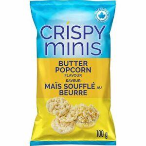 12 Quaker Crispy Minis Butter Popcorn Rice Chips 100g/3.52oz Canada ALWAYS FRESH