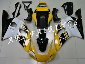 Yellow White Anniversary ABS Injection Mold Bodywork Fairing Kit for R6 98-02