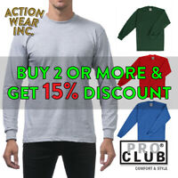PROCLUB PRO CLUB MENS PLAIN LONG SLEEVE T SHIRT HEAVYWEIGHT COTTON TEE ACTIVE