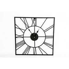 Stylish Black Metal Frame Square Cut out Skeleton Roman Numeral Clock 40cm