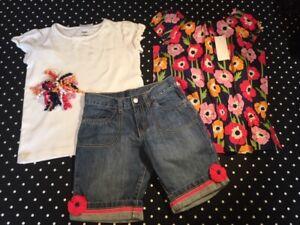 Gymboree Blooming Nautical tee top tunic shirt bermuda denim jean shorts 9 10 NW
