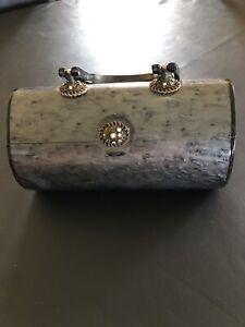 Genuine Vintage Wilardy Lucite Purse Handbag - Gray - Some Rhinestones Missing
