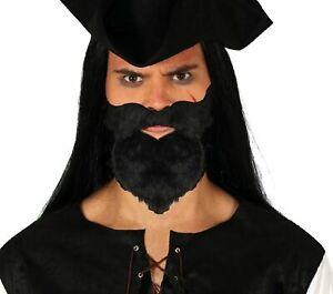 Vollbart Schwarz selbstklebend Rabbi Jude Pirat Wikinger Bart Kostüm-Zubehör