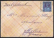 1901 Very Fine Tartan Pattern envelope 2 1/2d Blue Jubilee to Mollis Switzerland