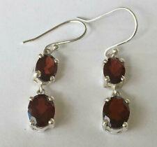 925 Sterling Silver Garnet Earrings Multi 2 Gemstones Oval Dangle Claw Double