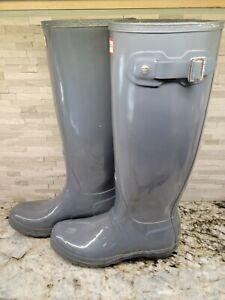 Hunter Original Tall Gloss Gray Rubber Boots Sz 8 Us Womens