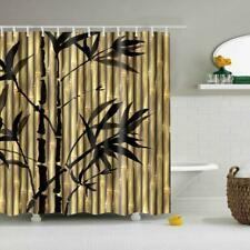 Polyester Bamboo Tree Shower Curtain with Hook Set Bathroom Decor 180x180cm
