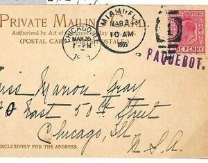 Bahamas MARITIME Card USA PAQUEBOT Miami Chicago PPC 1905 {samwells-covers} B88