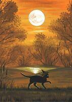ACEO PRINT OF PAINTING RYTA HALLOWEEN BLACK CAT WITCH AUTUMN LANDSCAPE FOLK ART