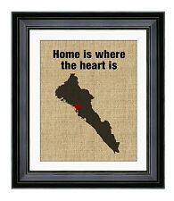 Home is where the heart is, Sinaloa Mexico, Burlap Print, Housewarming Gift