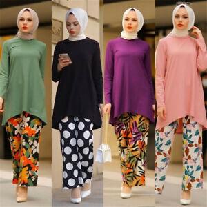 Women Long Sleeve Tops Print Pants Two Piece Set Muslim Abaya Dress Dubai Kaftan