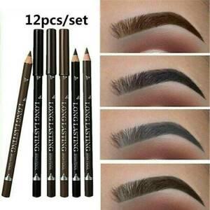 UK 12PCS Waterproof Eye Brow Eyeliner Eyebrow Pen Pencil Lasting Makeup Gift Set