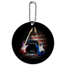 Electric Guitars American USA Flag Rock and Roll Round Luggage ID Tag