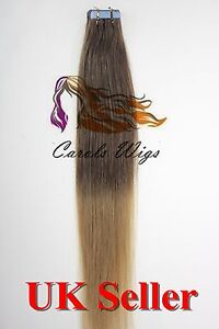 8A* Tape Skin 16'' Light Brown into Blonde Russian Remy Human Hair Extensions UK