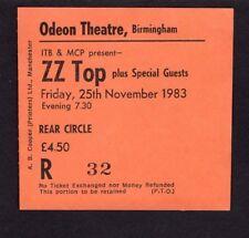 Original 1983 Zz Top Wendy Rocketts concert ticket stub Birmingham Uk Eliminator