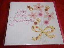 """""""HAPPY BIRTHDAY Grand Daughter"""".... BELLISSIMO RICAMO CUCITO CARD"""