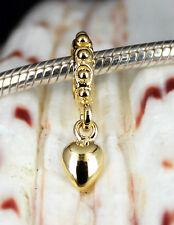 Vermeil GOLD on Solid 925 Silver 3D Love Heart Charm BEAD / Pendant For Bracelet