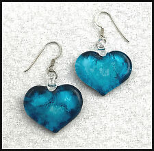 VINTAGE .925 Sterling Silver & Blue Dichroic Glass Heart Earrings, French Wires