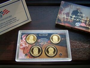 USA 2009 Presidential One Dollar 4 Coin Proof Set with Original Box and COA
