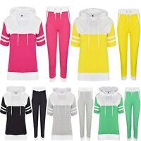 Womens Ladies Contrast 2PC Short Sleeve Hoodie 3/4 Joggers Loungewear Tracksuit