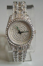 Mens hip hop CZ Bling clubbing silver finish fashion metal rapper bracelet watch