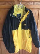 HELLY HANSEN mens M yellow black rain jacket coat camping hiking fishing boating