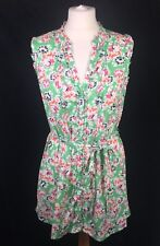 Monsoon Green 100% Cotton Floral Summer V-Neck Tunic Dress Top 12 Festival Boho