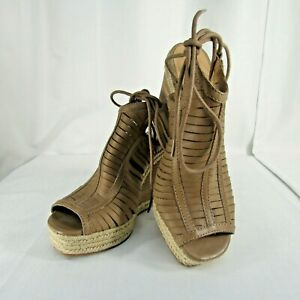 Lucky Brand Tan Khaki  Peep Toe Ankle Tie Leather Wedge Heels Shoes US Sz 8