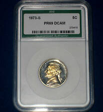 1973-S JEFFERSON GEM++++PROOF NICKEL-HIGH QUALITY DEEP CAMEO COIN SLAB/FREE SHIP
