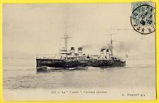"""cpa cachet TOULON Navire de Guerre Le CROISEUR CUIRASSÉ """" CONDÉ """" Bateau Marine"""