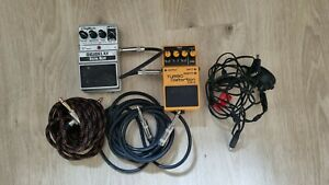 Turbo Distortion DS-2 and DigiTech Digital Delay Guitar Pedals with Cables inc.