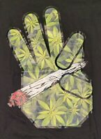 Joint Hands Weed Marijuana Black Graphic Cannabis T-Shirt Small