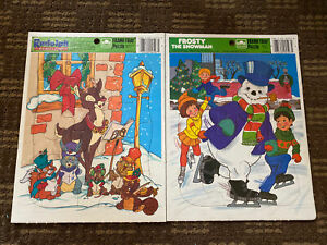 Vintage 1985 Frosty The Snowman and Rudolph! Golden Frame Tray Puzzles! New!