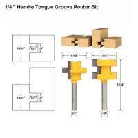 2 Stück Fräser Set Groove und Tongue Router Bit 1/4 Zoll Schaft Holzfräser Gelb
