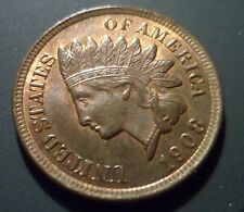 CH BU 1908 19/19 Indian Head Cent Snow 7 S7 RPD Repunched Date PQ UNC RB n71