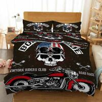 Hound Motorcycle 3D Quilt Duvet Doona Cover Set Single Double Queen King Print