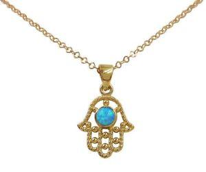 14K Gold Filled Hamsa Hand Necklace Blue Opal Evil Eye Protection Charm Pendant