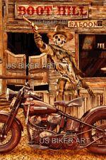 Harley Davidson Panhead Boot Hill Saloon Gunfighter Ghostrider Biker Art Print