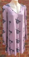 Free People Long sleeve top lilac colour size fit AUS 12 cotton NWOT (fp44)